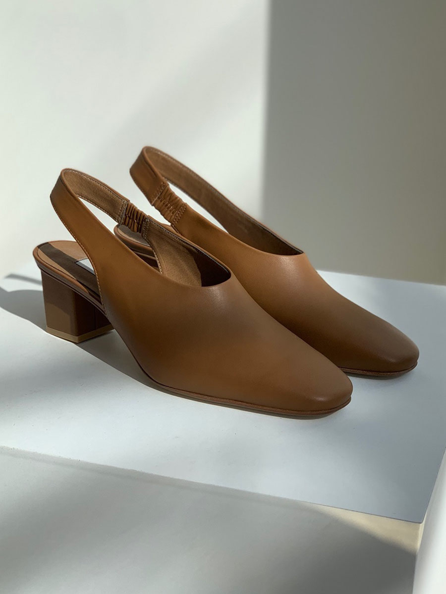 brown sling back